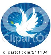 Royalty Free RF Clipart Illustration Of A White Dove With A Leaf Flying Over Blue Glittery Rays In A Circle by Qiun