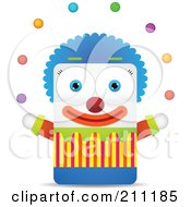 Royalty Free RF Clipart Illustration Of A Square Shaped Clown Juggling Colorful Balls