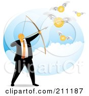 Royalty Free RF Clipart Illustration Of An Orange Faceless Businessman Archer Aiming For Coins