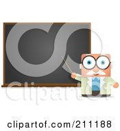 Blocky Male Professor Pointing To A Blackboard