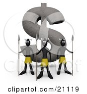 Clipart Illustration Of Three Native Guards With Spears Protecting A Giant Dollar Statue Made Of Stone
