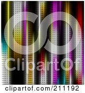 Royalty Free RF Clipart Illustration Of A Background Of Vertical Colorful Neon Lights by elaineitalia