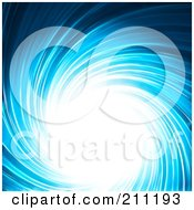Royalty Free RF Clipart Illustration Of A Blue Swirl Background With A Bright Center Of Glowing Light by elaineitalia