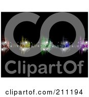 Royalty Free RF Clipart Illustration Of A Background Of Sparkly Disco Balls With Headphones Over Colorful Equalizer Waves On Black