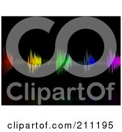 Royalty Free RF Clipart Illustration Of A Background Of Colorful Neon Equalizer Waves Over Black