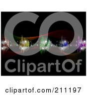 Royalty Free RF Clipart Illustration Of A Background Of Colorful Equalizer Waves And Disco Balls With Headphones Over Black