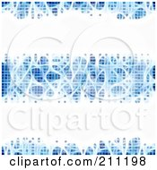 Royalty Free RF Clipart Illustration Of An Abstract Blue Electric Background Of Bright White Rows by elaineitalia