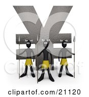 Clipart Illustration Of Three Native Guards With Spears Protecting A Stone Statue In The Shape Of The Yen Symbol