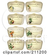 Royalty Free RF Clipart Illustration Of A Digital Collage Of Crown And Fruit On Homemade Jam Labels by Eugene