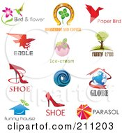Royalty Free RF Clipart Illustration Of A Digital Collage Of Logo Designs Of Birds Luck Origami Ice Cream Plants Shoes Houses And A Parasol