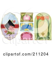 Royalty Free RF Clipart Illustration Of A Digital Collage Of Floral And Art Deco Labels by Eugene