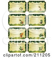 Royalty Free RF Clipart Illustration Of A Digital Collage Of Golden And Green Homemade Jam Labels With Text And Date Space by Eugene