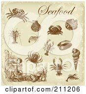 Royalty Free RF Clipart Illustration Of A Digital Collage Of Brown Antique Seafood Design Elements Over Beige