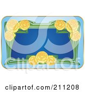 Royalty Free RF Clipart Illustration Of A Floral Yellow Rose Label by Eugene