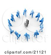 Clipart Illustration Of An Empty Chair Symbolizing Career Opportunities Surrounded By Blue Business Men Standing In A Circle
