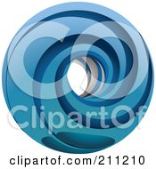 Royalty Free RF Clipart Illustration Of A Logo Design Of A Blue Spinning Ring by Eugene