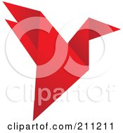 Royalty Free RF Clipart Illustration Of A Logo Design Of A Red Origami Bird by Eugene