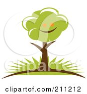 Royalty Free RF Clipart Illustration Of A Logo Design Of A Happy Tree by Eugene