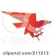 Royalty Free RF Clipart Illustration Of A Logo Design Of A Red Flying Eagle by Eugene