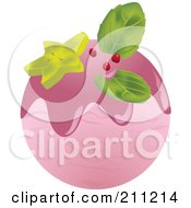 Royalty Free RF Clipart Illustration Of A Logo Design Of A Scoop Of Strawberry Ice Cream by Eugene