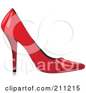 Royalty Free RF Clipart Illustration Of A Logo Design Of A Shiny Red High Heel