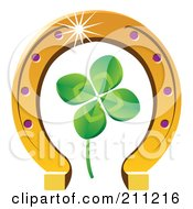 Royalty Free RF Clipart Illustration Of A Four Leaf Clover And Horseshoe by Eugene #COLLC211216-0054