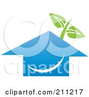 Royalty Free RF Clipart Illustration Of A Logo Design Of A Happy Blue House And Plant by Eugene
