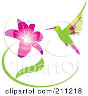 Royalty Free RF Clipart Illustration Of A Humming Bird And Purple Flower by Eugene