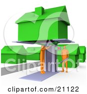 Clipart Illustration Of A Two Orange Men Jacking Up A Home On A Lift And Doing Repairs Before A Family Moves In