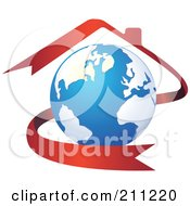 Royalty Free RF Clipart Illustration Of A Logo Design Of A Globe With A Red House Ribbon by Eugene