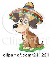 Royalty Free RF Clipart Illustration Of A Cute Mexican Dog Wearing A Colorful Sombrero by visekart