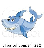 Royalty Free RF Clipart Illustration Of A Mean Blue Shark Swimming And Glancing At The Viewer