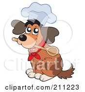 Cute Dog Wearing A Chef Hat And Holding A Spoon In His Mouth