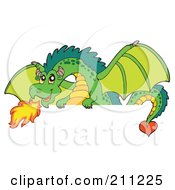 Royalty Free RF Clipart Illustration Of A Green Dragon Breathing Fire Over A Blank Sign