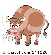Royalty Free RF Clipart Illustration Of A Furious Bull Blowing Smoke Out Of His Nose by visekart
