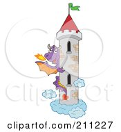 Royalty Free RF Clipart Illustration Of A Purple Fire Breathing Dragon Guarding A Tall Tower