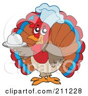 Royalty Free RF Clipart Illustration Of A Cute Turkey Bird Chef Holding A Small Platter by visekart