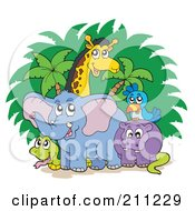 Royalty Free RF Clipart Illustration Of A Giraffe Hippo Parrot Snake And Giraffe Standing By Trees And Bushes by visekart
