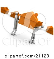 Clipart Illustration Of A Two People Carrying An Orange House And Relocating To A New Neighborhood