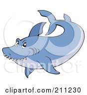 Royalty Free RF Clipart Illustration Of A Two Toned Blue Shark Swimming by visekart