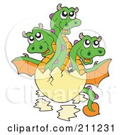 Royalty Free RF Clipart Illustration Of A Triple Headed Dragon Baby Hatching From An Egg
