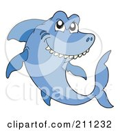 Royalty Free RF Clipart Illustration Of A Mean Blue Shark Swimming And Thinking by visekart