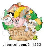 Royalty Free RF Clipart Illustration Of A Horse Bull Pig And Sheep Looking Over A Wooden Farm Fence by visekart