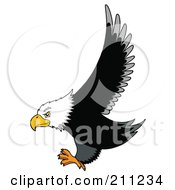 Royalty Free RF Clipart Illustration Of A Bald Eagle In Flight His Wings Up And Claws Out