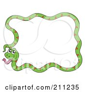 Royalty Free RF Clipart Illustration Of A Happy Green Snake Forming A Frame by visekart