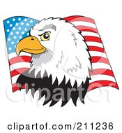 Royalty Free RF Clipart Illustration Of A Profiled American Bald Eagle Head Over A Flag
