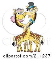 Royalty Free RF Clipart Illustration Of A Happy Giraffe Wedding Couple With Their Necks Entwined