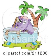 Royalty Free RF Clipart Illustration Of A Happy Hippo Taking A Mud Bath In A Tub by visekart