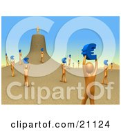 Clipart Illustration Of Orange People Employees Holding Up Blue Euro Signs And Carrying Them To Their Leader As If They Were Ants