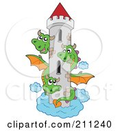 Royalty Free RF Clipart Illustration Of A Three Headed Green Dragon Guarding A Tall Tower by visekart